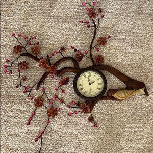 Decorative Metal Bird, Hanging Branch Wall Clock